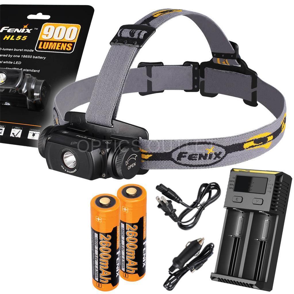 Fenix HL55 900 Lumen Headlamp w  2x Fenix Batteries & 2-Channel Charger (AC Car)