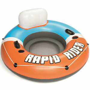 Bestway 43116E CoolerZ Rapid Rider Inflatable River Lake Pool Tube Float, Orange