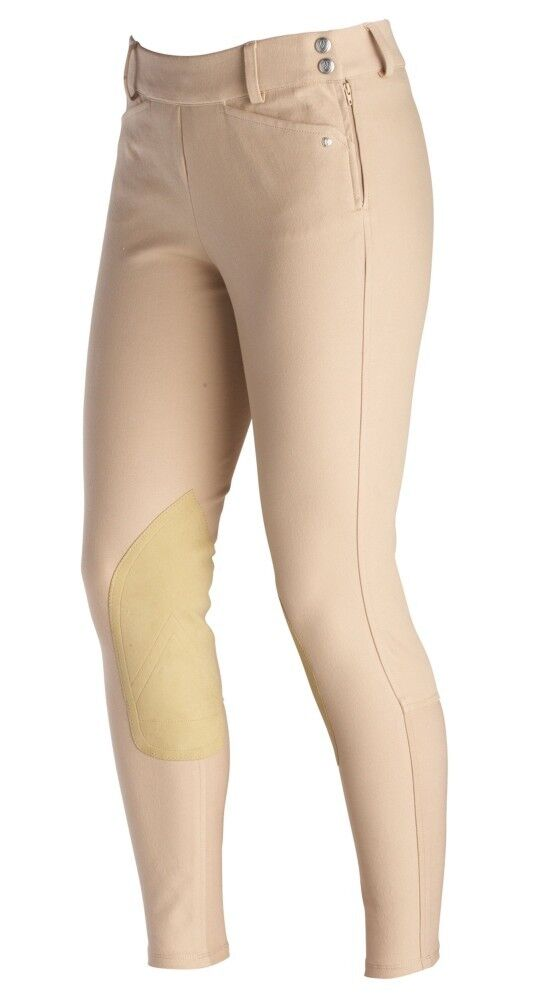 Wouomo Ariat Tan Heritage Low Rise Side Zip Knee Patch Breeches Dimensione 36