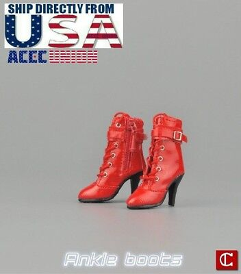 """1//6 Leather Ankle Boots For 12/"""" Hot Toys TBLeague PHICEN Female Figure U.S.A."""