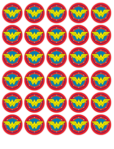 Wonder Woman Logo Birthday Wafer Cupcake Fairy Cake Toppers