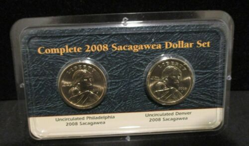 Complete 2008 P /& D Sacagawea Dollar Set Littleton Packaging    ENN COINS