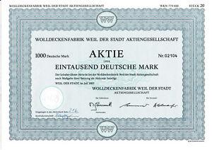 1985-Wolldeckenfabrik-Weil-der-Stadt-AG-DM-Aktie-Kup-Lk-Boeblingen-Wuerttemberg