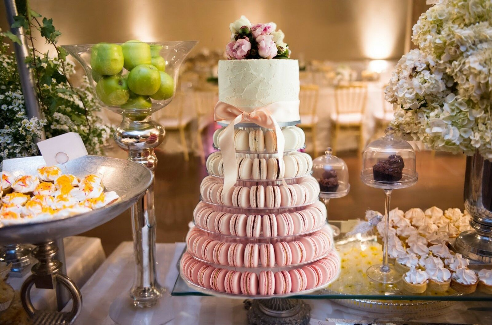 6 Tier Macaron Tower Cake Stand with Cake Plate Topper