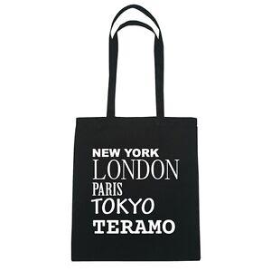 Negro Tokyo Teramo York Paris New De London Bolsa Color Yute waz7Zq