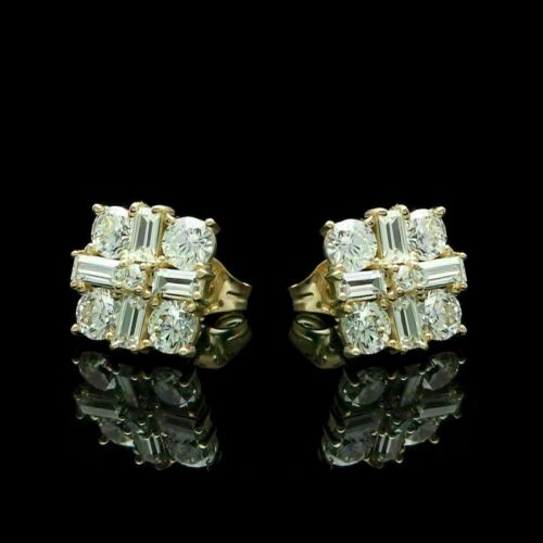 Details about  /1.50Ct Baguette /& Round Diamond Square Cluster Earrings 14K Yellow Gold Finish