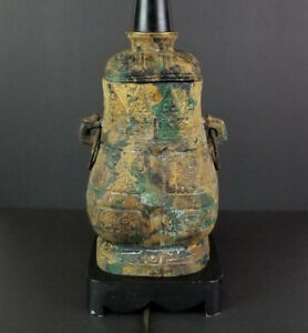 Japan-Cast-Iron-Lamp-Ginger-Jar-Vase-Urn-Green-Gold-Black-Verdigris-Japanese