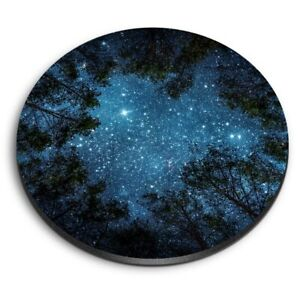 Round MDF Magnets - Night Sky View Trees Camp  #8595