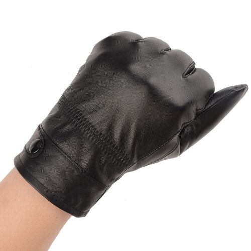 Men/'s Autum Winter Classic Genuine Leather Gloves Lambskin Mittens Driving Black