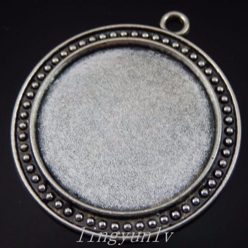 10 pieces vintage alliage d/'argent 29 mm Cameo Setting Round Pendentifs Bijoux 50238