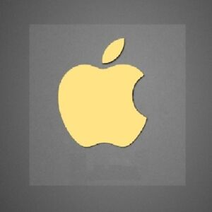 2 x gold apple logo decal for iphone metallic stickers 14mm x 17mm