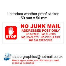 NO JUNK MAIL - Letterbox Door  Window Sticker Sign