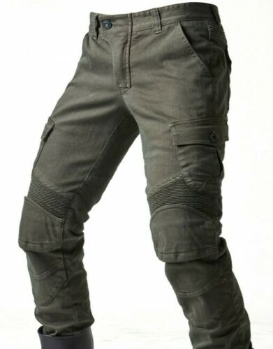 Hot Motorcycle Jeans Denim Biker Army Green Moto Trousers Combat Pants With Pads