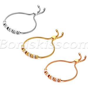 Women-039-s-Charm-Stainless-Steel-Rhinestone-Beaded-Freely-Adjustable-Bracelet-Chain