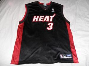 867f64e2601 DWAYNE WADE Miami Heat 3 Jersey NBA Reebok Adult X-Large XL Black ...