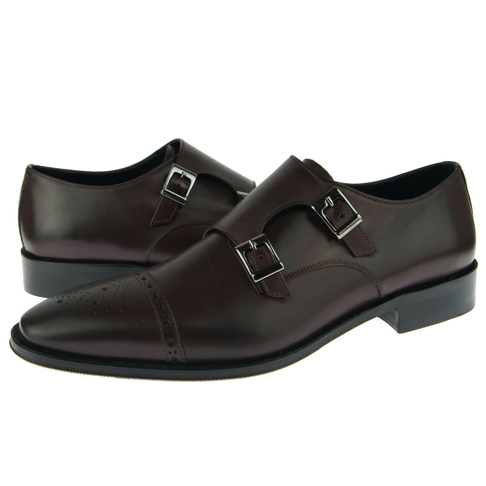Alex D   Cleveland   Cappello Punta Monk, hombres Abito zapatos in pelle, Burgundy