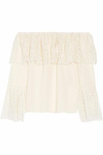 Rachel Zoe Solid Ivory Lace Silk Ruffle Krystal Of