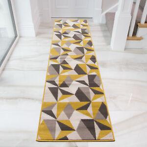 Details About Ochre Grey Geometric Hall Runner Rugs Yellow Kaleidoscope Hallway Rug Runners Uk