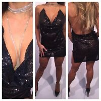 Semi Sheer Kendall Bday cowl neck w Rhinestone Choker Black sequin Mini Dress L