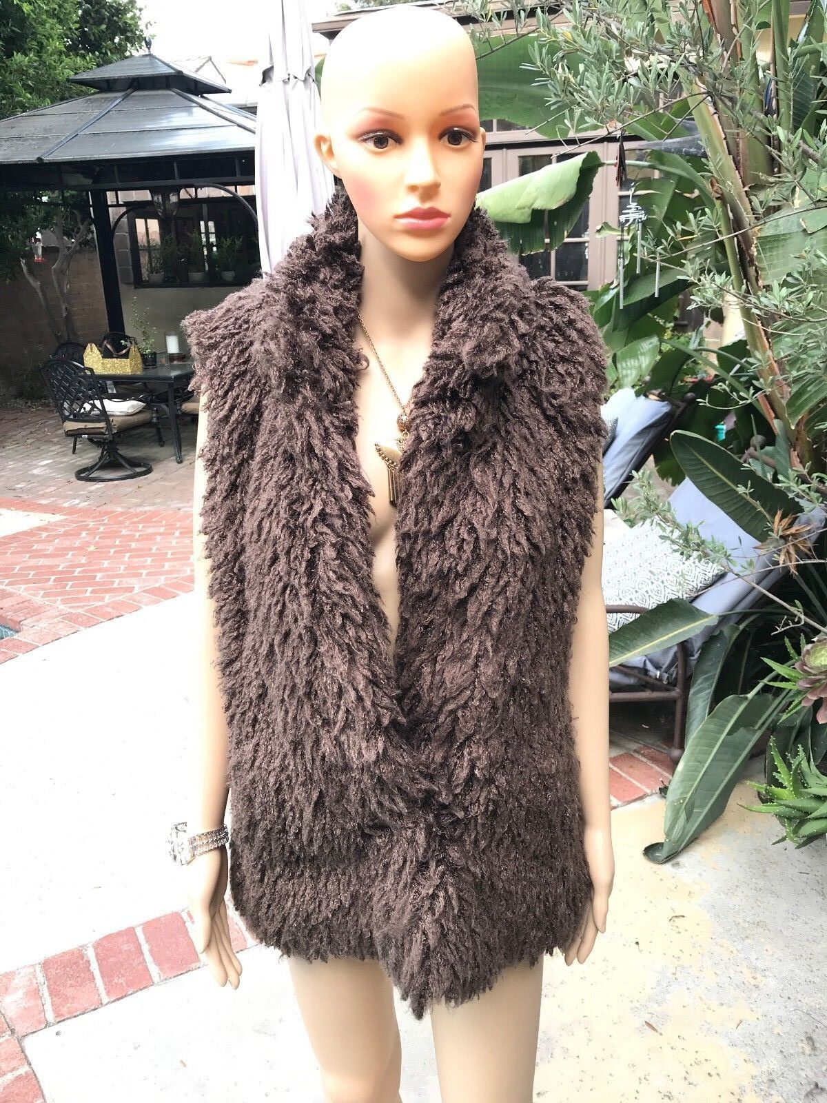 Katie Todd Brown Faux Fur shaggy vest coverup - Women's Small
