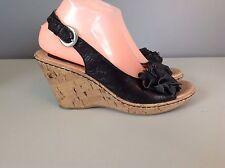 BOC Born Concept Black Cork Wedge Heel Sandals Womens Size 9