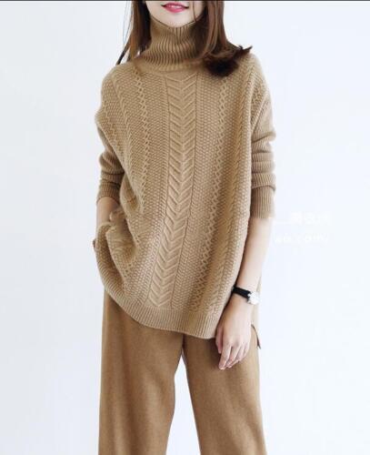 100/% Cashmere Women/'s High-Neck Sweater Long Sleeve Knitwear Thick Coat Outwear