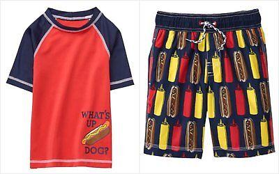 NWT Gymboree Getaway Shop Hot Dog Boys Rashguard Board Shorts Swim Trunks Set