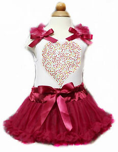 fec545a495 Image is loading Valentine-Rhinestone-Heart-White-Top-Wine-Red-Newborn-