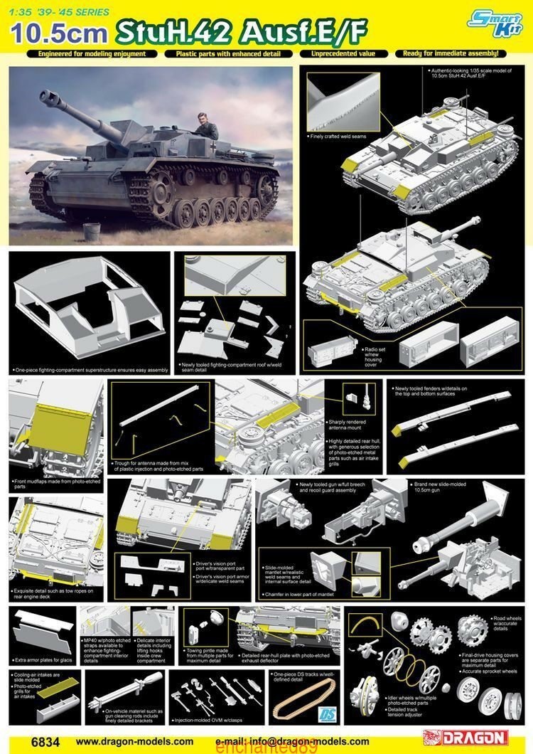 Dragon 1 35 6834 10.5cm StuH.42 Ausf.E F Model kit