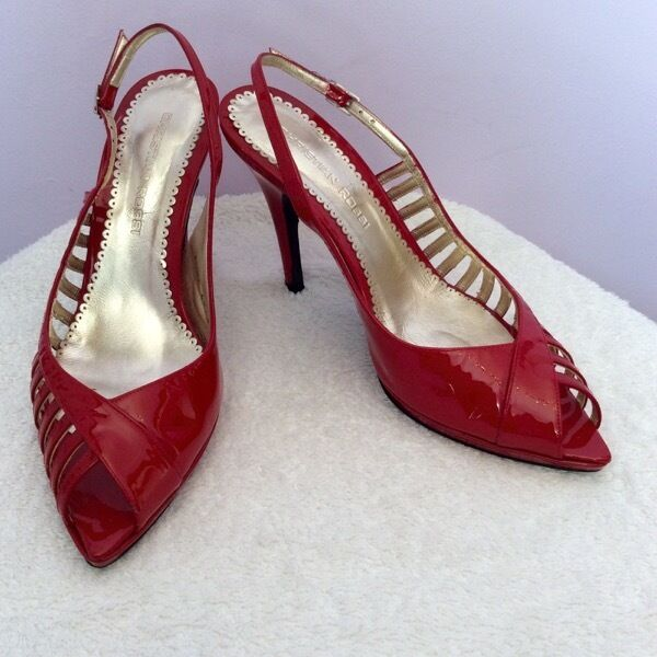 CHRISTIAN ROT ROSSI ROT CHRISTIAN PATENT LEATHER SLINGBACK HEELS SIZE 6 a85258