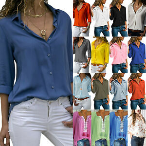 Womens-V-Neck-Button-Blouse-Ladies-Casual-Long-Sleeve-T-Shirt-OL-Tops-Tee-Shirts