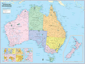 Cool Owl Maps Australia And New Zealand Wall Map Poster - Map of australia and new zeland
