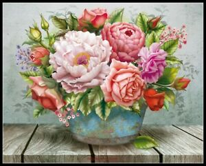 Flowers-in-the-Bucket-Chart-Counted-Cross-Stitch-Pattern-Needlework-Xstitch