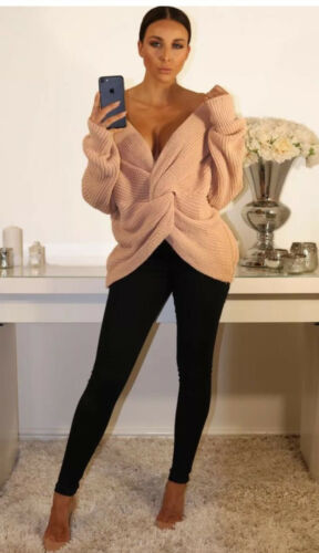 Ladies Winter Wrap Over Knot Twisted Baggy Fit Knitted Jumper Top One Size 8-16