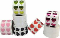 Heart Stickers, 1/2 Inch Wide Labels, 1000 Labels On A Roll, 15 Color Choices