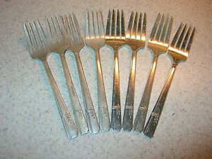 LOT-of-8-SALAD-FORKS-in-1938-GRENOBLE-Pattern-by-PRESTIGE-PLATE-Expand-Replace