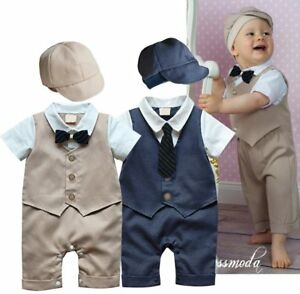 Baby-Boy-Wedding-Christening-Tuxedo-Formal-Suit-Romper-Outfit-Clothes-HAT-Set