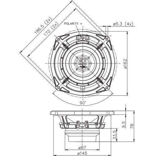 "Faital Pro 6PR122 8ohm Neodymium 6/"" 97dB 10KHz Midrange Replacement Speaker"