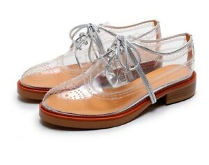 New-Fashion-Womens-Clear-Brogue-Shoes-Pointy-Toe-Casual-Flats-Low-Block-Sneakers
