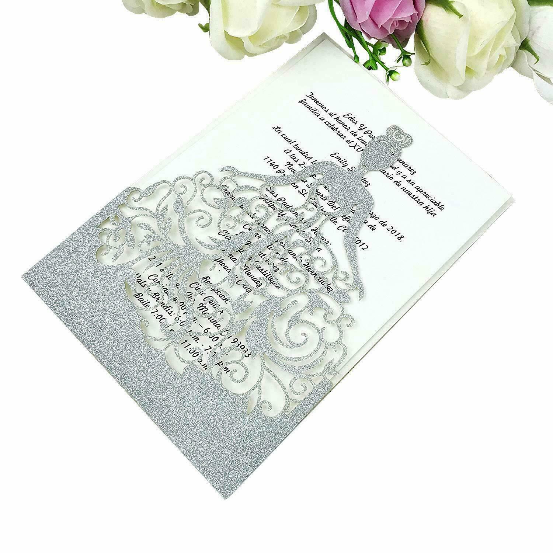 Paillettes Argent Découpe Laser Mariage Soirée invitation carte carte vierge + enveloppe