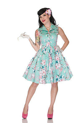 VOODOO VIXEN LADIES GREEN DRESS PINK FLORAL ROCKABILLY 1950'S  PARTY WEDDING