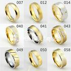 Men / Women Gold Plated Tungsten Carbide Band Wedding Anniversary Ring Size 4-16