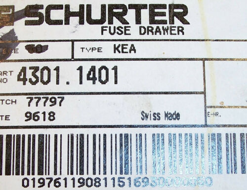 QTY 4301.1401 SCHURTER FUSE DRAWER FOR TYPE KEA 5X20 FUSES 5