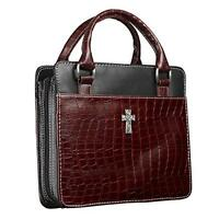 Classic Croc Purse-style Bible / Book Cover W/cross (large, Burgundy), New, Free