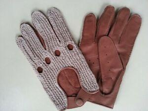Driver-Handschuh-gehaekelte-Oberhand-Rindleder