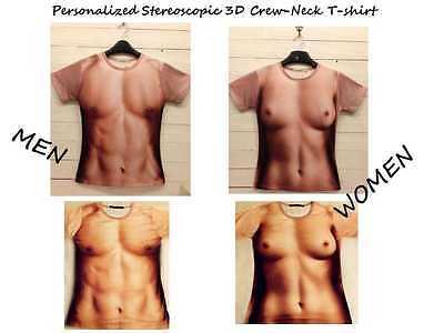 Cool Stylish Personalized Stereoscopic 3D Muscle Pattern Crew-Neck T-shirt