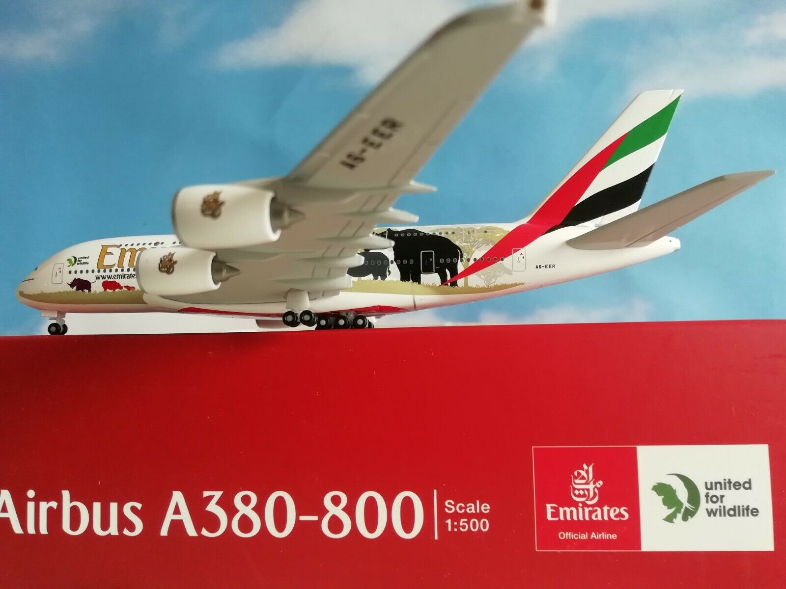 532723  Emirates Airbus A380  United for Wildlife    (No.2) Herpa Wings 1 500 e2d6d4