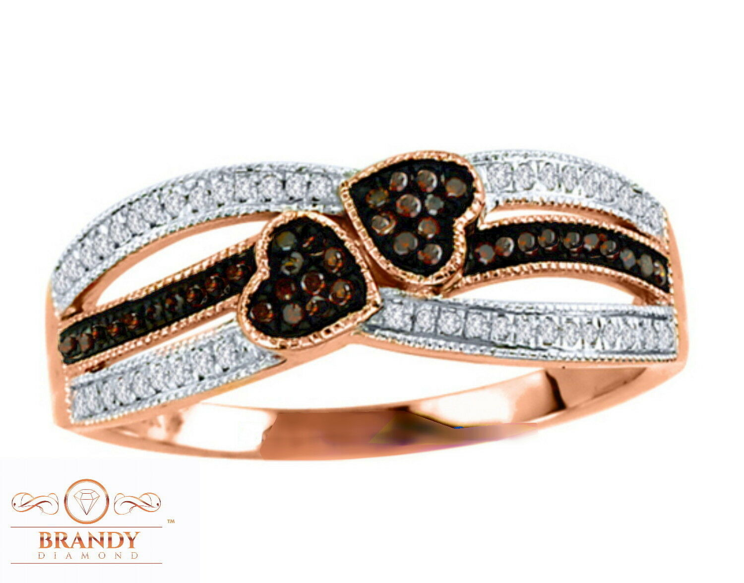 10K pink gold Beautiful Brandy Diamond Chocolate Brown Heart To Heart Ring .23Ct