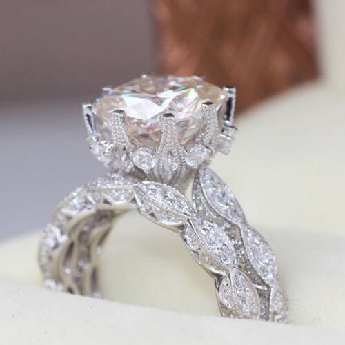 Femmes tempérament Faux Diamant Rond Bague Fiançailles Mariage Fête Bijoux LD