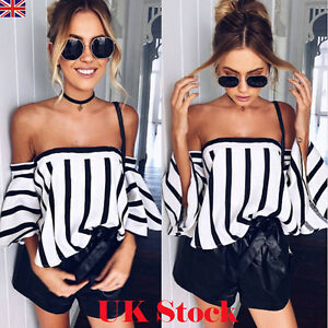 Women-Ladies-Striped-Casual-Off-the-Shoulder-Short-Sleeve-Crop-Top-Shirt-Blouse